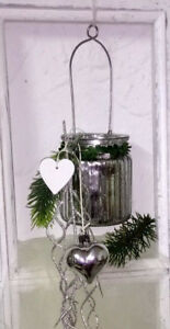Lantern Glass Hanging Silver Shabby Chic Country House Vintage 3 1/2x2 13/16in