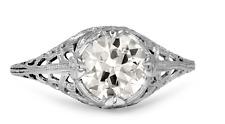 18K WHITE GOLD EDWARDIAN DIAMOND RING VINTAGE ESTATE ONE OF A KIND PIECE