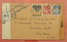 1943 NORTHERN RHODESIA 1/ AIRMAIL TO USA WWII DUAL CENSORED