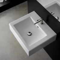 """24"""" Wall Mount/Self Rimming White Rectangle One Hole Bathroom Sink with Overflow"""