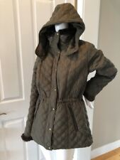 Women's Marc New York Andrew Marc Quilted Hooded Jacket Coat Brown Size Medium