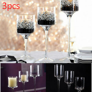 3X Elegant Stick Glass Tea Light Candle Holders Wedding Table Centrepiece Design