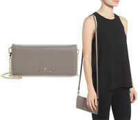 $198 CELINE DION Adagio Women's Leather Crossbody / Wallet 2 Straps in Taupe