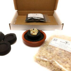 BLESSIAH Starter Incense Resin Kit Set Terracotta Resin Burner 50g Frankincense
