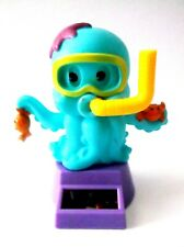 Solar Powered Dancing Blue Octopus Bobble Head Holding Two Crabs