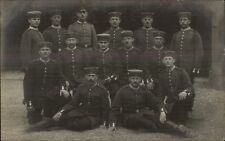 WWI Soldiers Group Pose in Uniform & Caps - German? RPPC #1