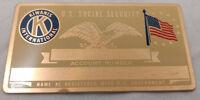 Kiwanis International US Social Security Metal Card Tag NOS VTG Perma Products
