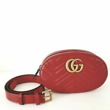 Gucci GG Marmont Small Quilted Leather Belt Bag | Red | 85-34 | New $1150