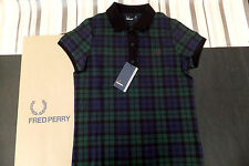 FRED PERRY Genuine Ladies Black Watch Tartan Pique Polo Shirt BNWT UK 12 EUR 40