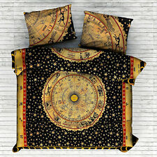 Yellow Zodiac Mandala Duvet Cover Bedding Set Double Size Indian Quilt Cover