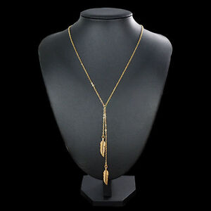 Gorgeous Women's Gold Plated Chain Hippy Boho Leaf Pendant Long Necklace