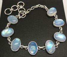 "Blue rainbow moonstone long oval bracelet Solid Sterling Silver, 8-10"" New. 🇬🇧"