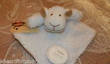 SECURITY BLANKET LAMB SHEEP BABY LUXE CUDDLY PAL WHITE SHERPA TAN LINING SOFT