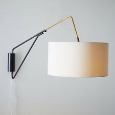 Retro Simple Fabric Shade Wall Light Metal Bedroom Hallway Decor Wall Lamp WL298