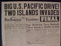 VINTAGE NEWSPAPER HEADLINE~WORLD WAR 2 GILBERT ISLANDS BATTLE INVASION WWII 1943