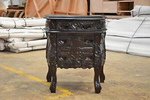 2 x Dark mahogany Rococo french style baroque designer Bedside table nightstand