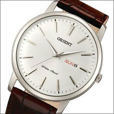 Orient Capital Quartz Dress Watch with Leather Strap, Domed Crystal #UG1R003W