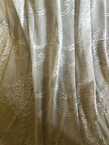 """EXQUISITE 55""""X108"""" EX LAURA ASHLEY FRENCH STYLE PALE GREY LACE/NET CURTAINS"""