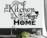 NEW Kitchen Heart Home Quote Wall Stickers Art Dining Room Removable Decals DIY
