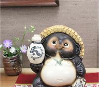 Japanese Shigaraki Yaki Tanuki Raccoon Dog Tokkuri Pottery Lucky Charm
