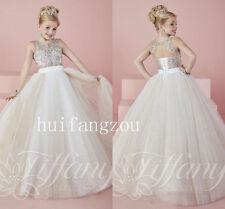 Beaded Sparkling Flower Girl Dresses Dancer Birthday Princess Pageant Dance Gown