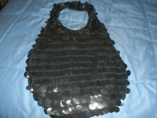 HIPPY HOBO ORNATE BLACK CLOTH COTTON SHOULDER HANDBAG