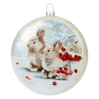 "RAZ Imports Christmas Glass Disc Ornament - Bunny Rabbits - 5"" diameter x 1.5"""