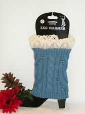 ICON Collection Leg Warmer Boot Topper Blue + Natural Color Lace NWT