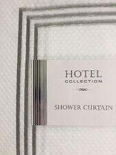 Hotel Collection White Diamond Weave Silver Grey Stripe 72x72 Shower Curtain