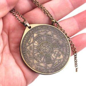 Vintage Talisman Sigil Seal of 7 Archangels Pendant Necklace Protection Amulet