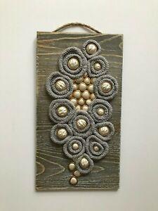"Handmade free form crochet, pearl buttons on wood base 13"" x 7"", Wall Art Decor"