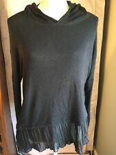 Hollister Women's Black Light Weight Long Sleeve Hoodie Top, Size: XS/S
