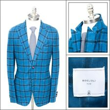 NWT BOGLIOLI Teal/Blue Shepards Check Tweed Unconstructed Travel Jacket 48 38 R