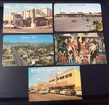 5 Vintage Postcards, Saludos de Tijuana, Piñata Shop, Border, Mexico.