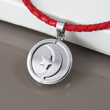Silver Stainless Steel Moon Star Pendant Braided Red Leather Tribal Necklace NEW