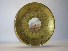 """Gilded Royal Worcester for Aspreys Cabinet Plate """" Partridges """" by Stinton."""