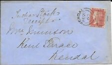 QV Stamps Envelope Kendall Cancellation 1860 Kendall Seal on reverse