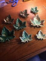 Lot Of 8 Maple Leaf Art Glass Candy Coin Dish Containers