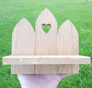 Solid Oak Wooden Wall Heart Sconce | Shelf Pillar Tealight Candle Holder Shelf