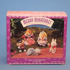 Hallmark Merry Miniatures 1996 Alice in Wonderland Nib 5 pieces Qsm8014 Lot