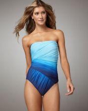 NEW! Gottex Womens Bathing Suit- Blue Ombré Slimming Bandeau One Piece- SZ 6
