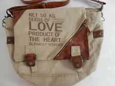 Canvas Leather 'Seeds of Love' Upcycled Messenger Shoulder Tote Bag Casual Wear