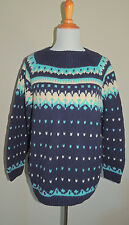 VINTAGE 50s-60s WOMENS  BLUE HANDMADE FAIR ISLE WOOL BLEND SWEATER