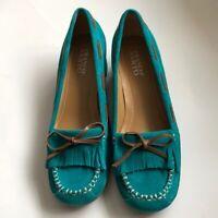 Franco Sarto NWOB Women's Turquoise Suede Slip On Moccasins, Size 7 1/2M