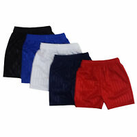 Kids Essentials Boys Girls PE Shorts School Games Gym Football Shadow Stripe Many Colours