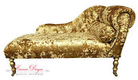 Indian Summer Crushed Gold Velvet Button Back Chaise Longue with Gold Legs