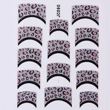 Nail Art Decal Stickers Glitter Nail Tips Pink Black Silver Spots JC090