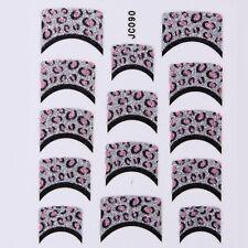 Nail Art Decal Stickers Glitter Nail Tips Pink Black Silver Spots JC090