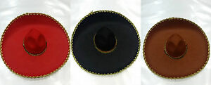 Mexican Red/Black/Brown Felt Gold Trim Sombrero Costume Hat Party