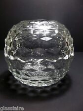 """Vintage CRYSTAL CLEAR Glass FAIRY LAMP Glimmer Light ROUND 5"""""""